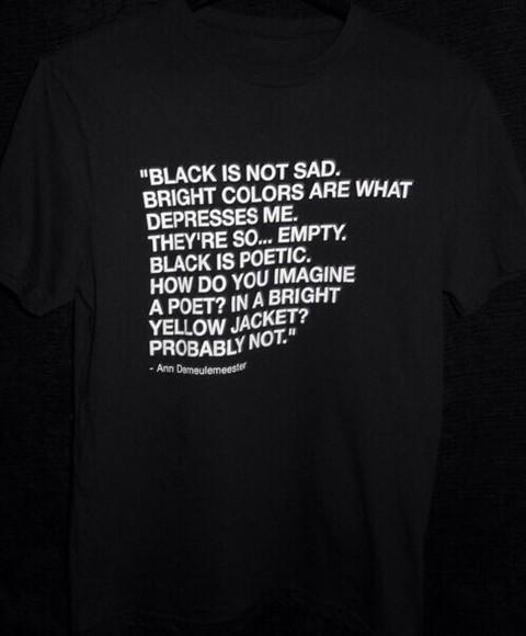 black t-shirt black shirt sad depression basic colour