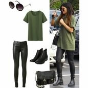kylie jenner,khaki,outfit,shoes,t-shirt,top,bag,shirt,pants
