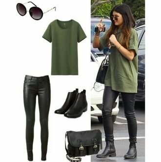 kylie jenner khaki outfit shoes t-shirt top bag shirt