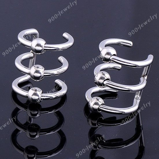2P Silvery Stainless Steel 3 Band Ring Ear Cuff Earcuff Earring Wrap Punk Goth | eBay