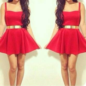 dress red dress gold belt skater dress sweetheart dresses valentine classy dress
