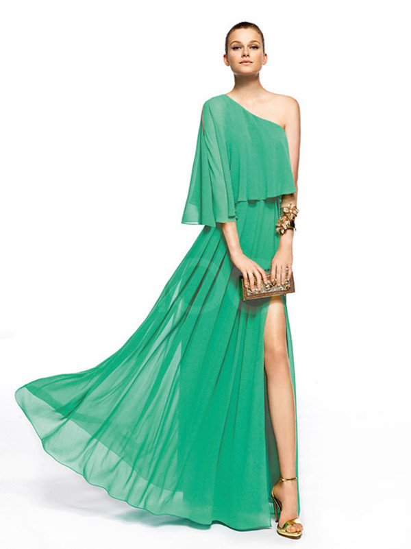 dress one-shoulder chiffon prom dress half-sleeves floor length side split