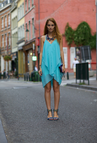 from brussels with love blogger teal chiffon dress