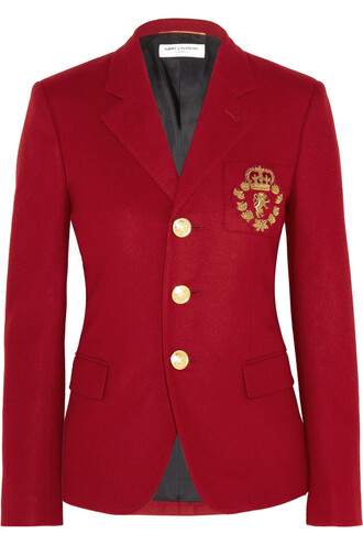 blazer embroidered wool red jacket