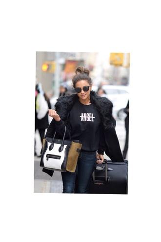 jacket black black fuzzy coat no angel black t-shirt black fur coat bag sunglasses coat shirt