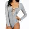 Rebecca lace up long sleeve bodysuit