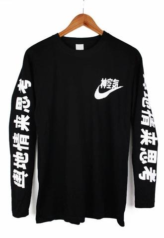 sweater nike air chinese writing black sweater