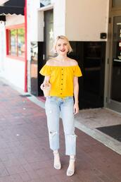 poor little it girl,blogger,scarf,shorts,yellow top,high heel sandals,summer outfits
