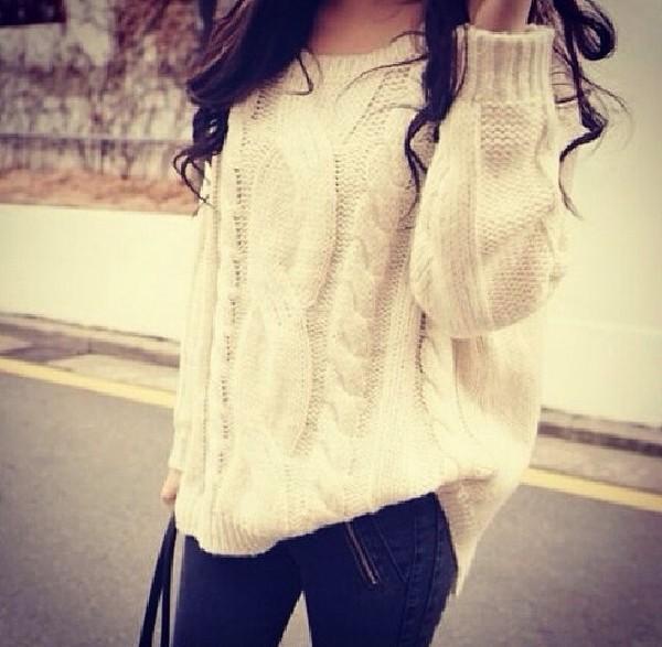 t-shirt jumper white white jumper sweater white sweater oversized sweater cozy sweater
