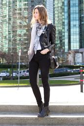 styling my life,blogger,leather jacket,shoulder bag,printed scarf,black jeans,ankle boots