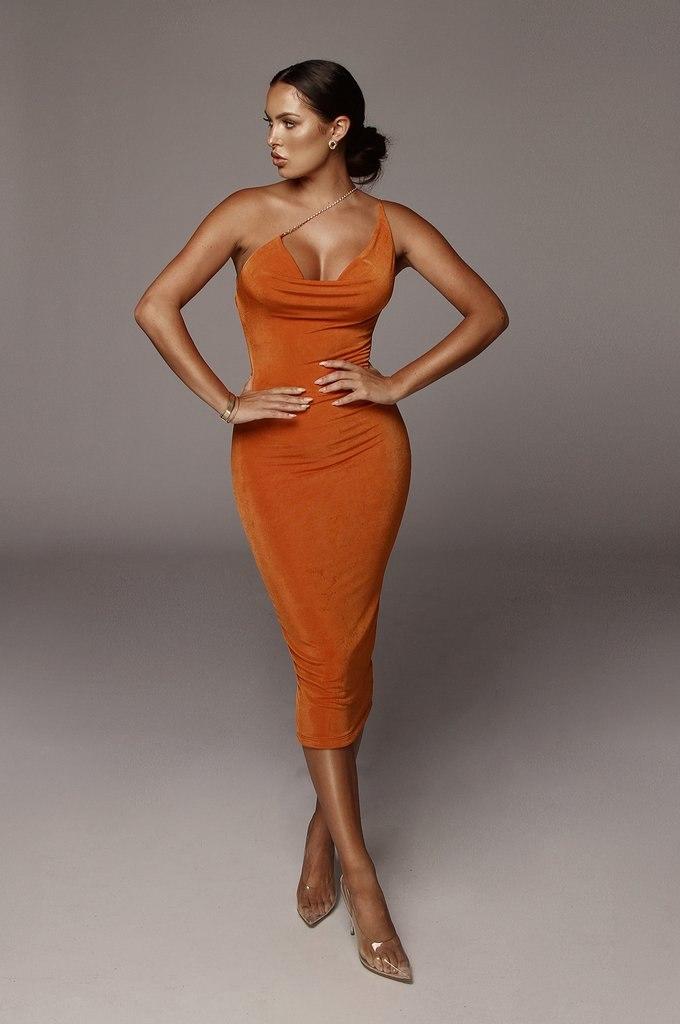 Orange Amarie Rhinestone Strap Dress