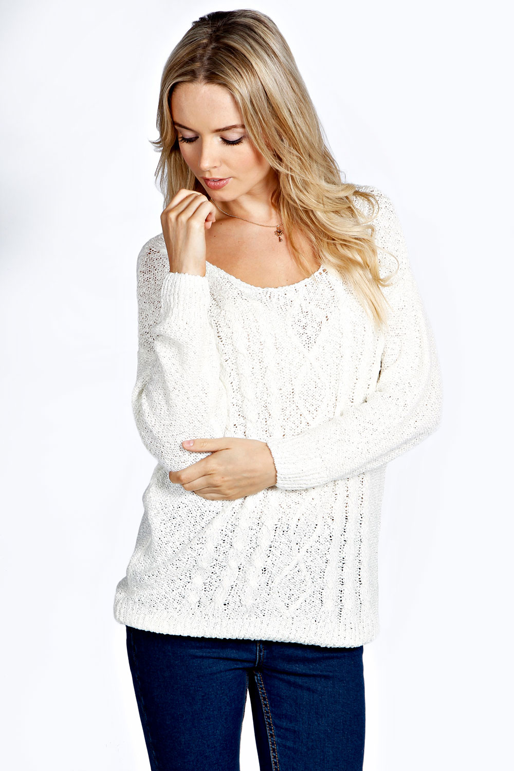 Caz Cable Knit Front Slouch Jumper