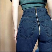 jeans,back zipper,zipper jeans,blue jeans