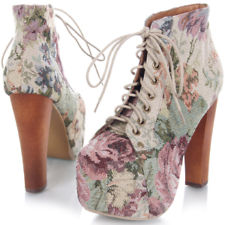 Jeffrey campbell lita white floral platform heel women sz pump bootie boot new
