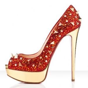 Red Spiked Heels - Qu Heel