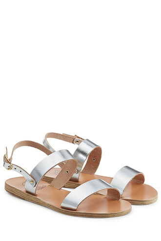 metallic sandals flat sandals leather silver shoes