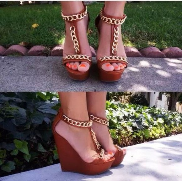 chain shoes wedges