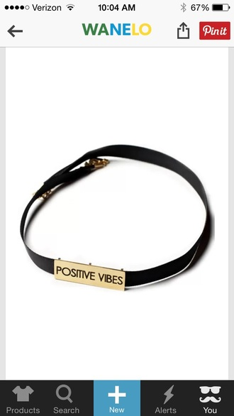 jewels black boho choker positive vibes metallic