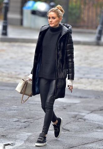 jacket pants olivia palermo sneakers sweater blogger streetstyle winter outfits