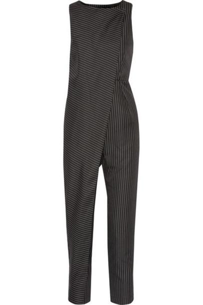 Paper London - Arko Pinstriped Twill Jumpsuit - Black
