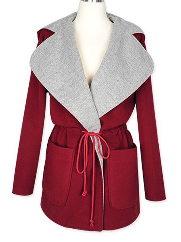 Red with hat drawstring waist color block coat : kisschic.com