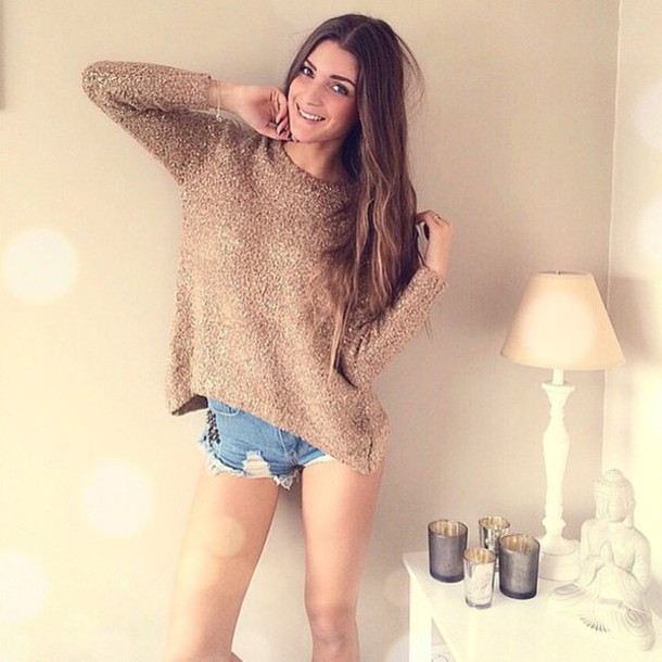 sweater chunky sweater ripped shorts casual