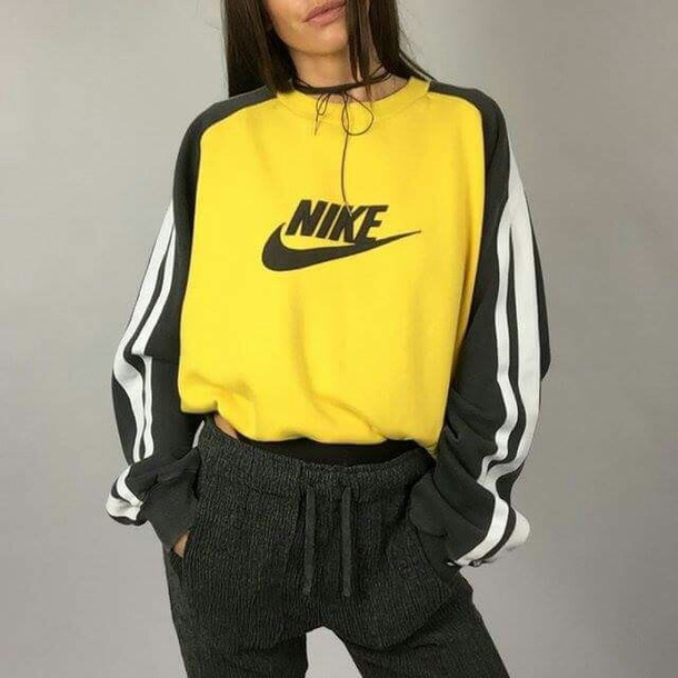 Sweater nike yellow sweatshirt crewneck sleeves oversized tumblr tumblr sweater black ...