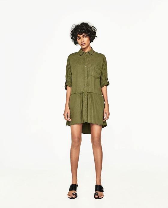 Vestido verde en zara