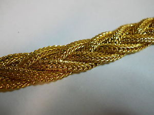 "Gold Plated Chunky 4 Strand Braided Bracelet Beautiful 5 8"" Wide 7 1 2"" Long 