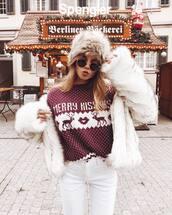 sweater,tumblr,christmas,christmas sweater,ugly christmas sweater,jacket,fur jacket,faux fur jacket,white jacket,white fur jacket,hat,fur hat