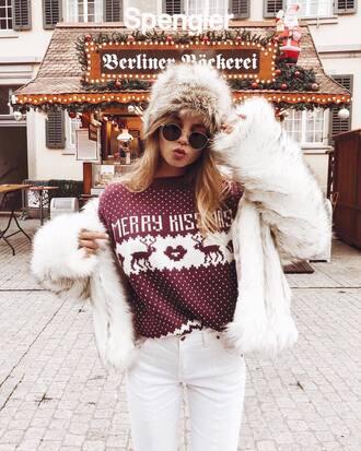 sweater tumblr christmas christmas sweater ugly christmas sweater jacket fur jacket faux fur jacket white jacket white fur jacket hat fur hat