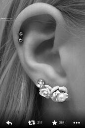 jewels,earrings,ear cuff,ear piercings,roses,flowers,diamonds,cardigan