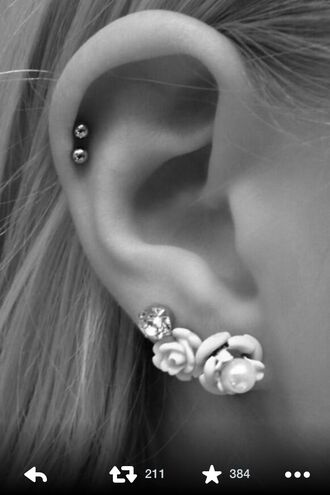 jewels earrings ear cuff ear piercings roses flowers diamonds cardigan