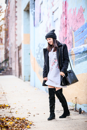 the material girl,blogger,dress,coat,hat,shoes,bag,make-up,beanie,winter outfits,bucket bag,mini dress,over the knee boots,boots