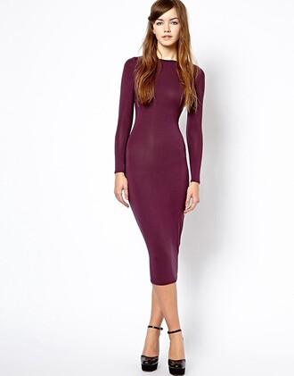dress purple dress bodycon dress midi dress