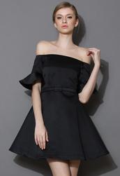 dress,charms,belted,off the shoulder,black