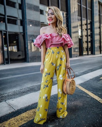 pants floral floral pants floral floral pants yellow pants top spring outfits off the shoulder off the shoulder top