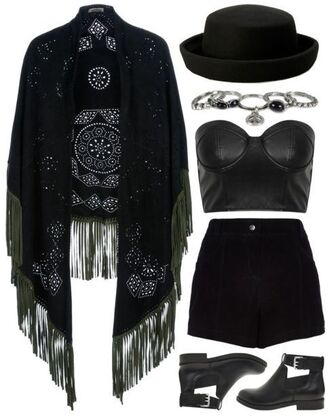 scarf black ethnic leather all black everything