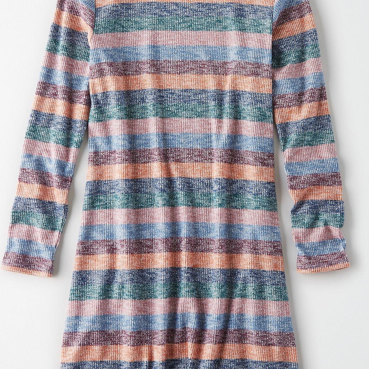 AEO Plush Striped Turtleneck Dress