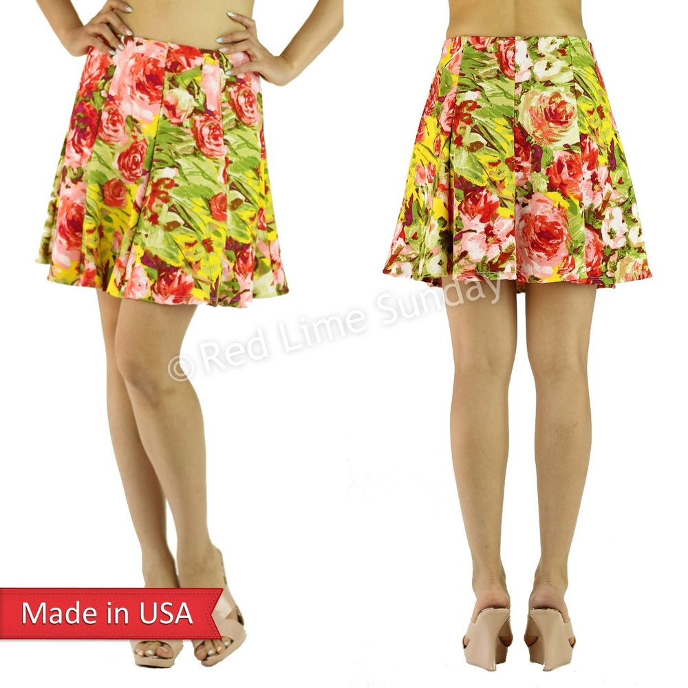A Line Flared Multi Color Yellow Red Flower Floral Print Mini Skater Skirt USA