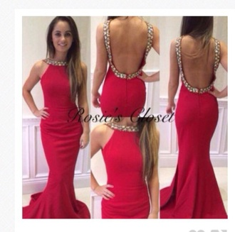dress backless prom dress red dress sequin dress long dress mermaid prom dress halter dress long prom dress prom dress beaded red prom dresses
