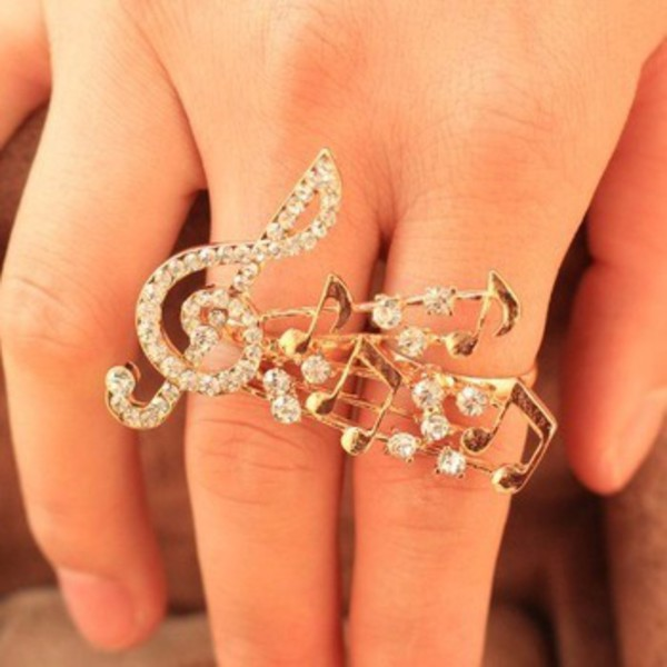 Amazon Treble Clef Two Finger Ring C16 Clear Rhinestones Gold