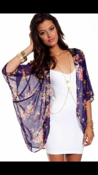 cardigan kimono floral cardigan purple