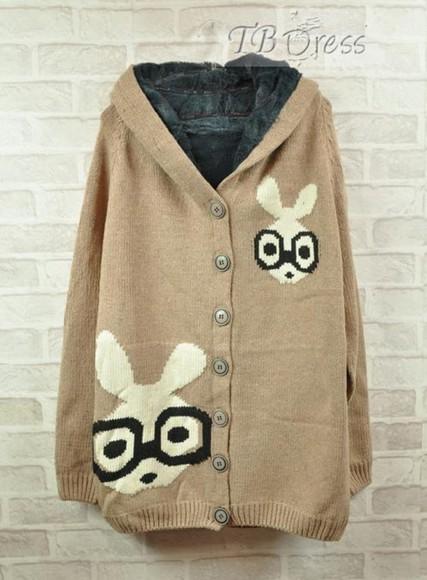 cream cardigan thick cardigan bunny cream cardigan