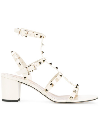 women sandals leather nude white shoes