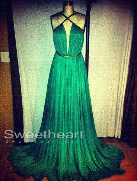 Length green prom dresses,dress for prom, eveing dresses
