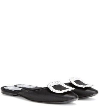 embellished slippers satin black shoes