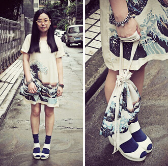dress white tsunami japanese blue waves