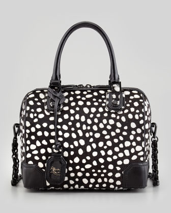 Alice   Olivia Olivia Lizard-Embossed Bag, Black/White - Neiman Marcus