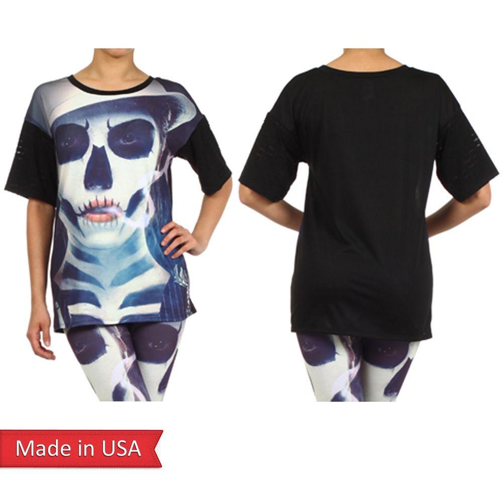 Women Lady Joker Goth Emo Punk Skull Face Spooky Print Halloween Top T Shirt USA